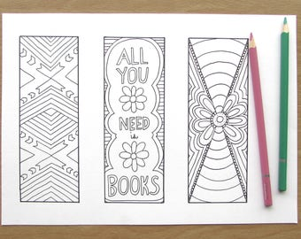 Pretty Bookmarks - A4 Printable Colouring Page, PDF Download, Adult Colouring, Reading, Relaxing, Mindfulness