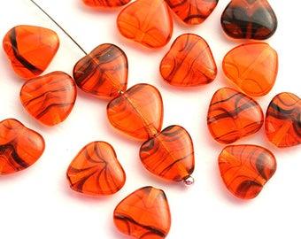 10mm Orange Heart beads Orange Black czech glass pressed beads 20Pc - 0603