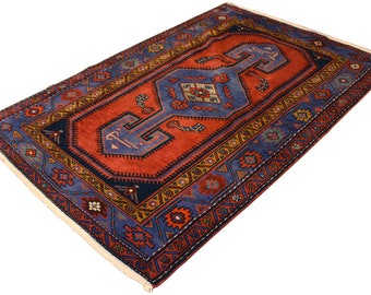 Vintage Persian hamdan hand knotted geometric oriental wool area rug home decor 4.3x6.6