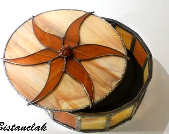 Stained glass box round caramel and beige flower