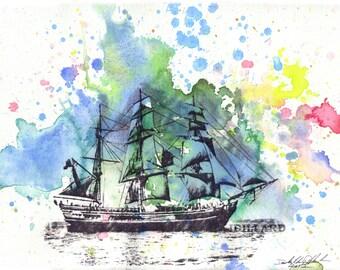 SailBoat Ship Nautical Wall Art Print from Original Watercolor Painting Sail Boat Art Ship Boat Decor Nautical Wall Art Decor