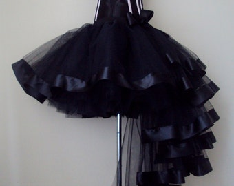 Black Burlesque Tulle Satin Bustle Tutu Skirt