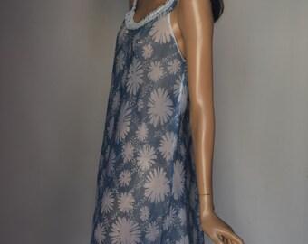 Elizabeth Hayes London Blue White Floral Print Semi Sheer Chiffon Nightgown Peignoir Set