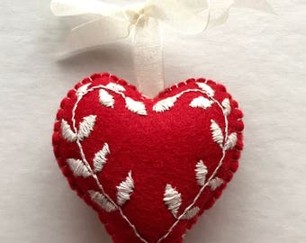 Hand embroidered hanging heart decoration with leaves