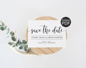 Modern Save the Date Template, Simple Save the Date card, Wedding Announcement, DIY Minimalist Save the Date, Printable PDF Template