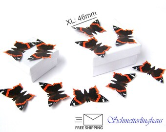 """25 premium deco paper butterflies """"red admiral"""" S/M/L/XL realistic orange black die cut for scrapbooking crafts decoration free shipping"""