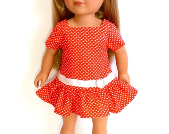 18 Inch Doll Dress, Red and White Valentine's Day, Christmas Doll Dress, Red Dress with Hearts, 18 Inch Doll Clothes