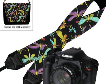 Camera Neck Strap Dragonfly Dslr Camera Strap SLR Padded Camera Strap Nikon Canon purple blue black yellow pink RTS