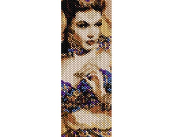 Vintage Lady 11 Peyote Bead Pattern, Bracelet Cuff, Bookmark, Seed Beading Pattern Miyuki Delica Size 11 Beads - PDF Instant Download