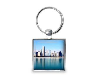 Blue Chicago - Glass Photo Keychain - Handmade
