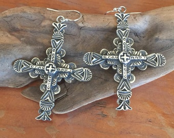 E38A Multi Layered Sterling Silver Carmel Cross with Tesuque cross southwestern sterling silver jewelry earrings from Santa Fe