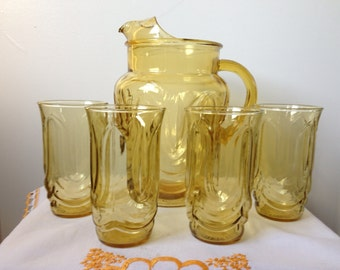 Anchor Hocking - Colonial Tulip - Amber - Pitcher and Glass Set