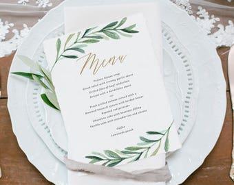 Greenery wedding invitation template printable wedding greenery wedding menu template printable menu garden wedding menu botanical wedding edit stopboris Images
