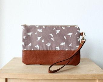 Birds pattern Clutch Purse Wristlet Wallet Vegan Faux leather Retro Vintage