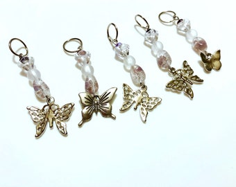 Butterfly pendant, beaded stitch markers (set of 5)