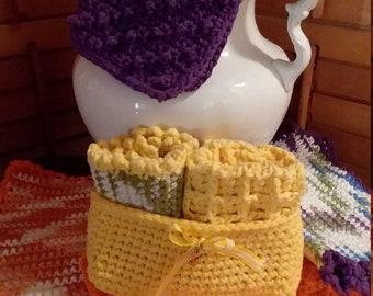 Cotton washcloths in a basket