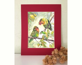 Love Birds exchanging a gift in a tree on watercolor paper. Whimsical original painting perfect for a wildife lover and story enthusiast.