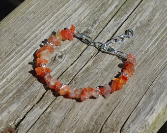 Carnelian Stone Bracelet ~ Natural Irregular Stones ~ Sunset Colours ~ Bohemian Orange Red ~ August Birthstone ~ Retirement Gift ~ OOAK