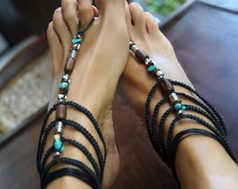 Boho Barefoot Sandals, Gladiator Barefoot Sandals, Turquoise Barefoot Sandals, 1 Pair