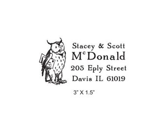 Owl with Letters Custom Return Address Rubber Stamp AD229