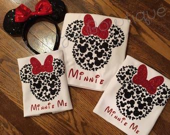 Minnie Mouse 100 Mickey's 3/4 sleeve raglan, Minnie and Minnie Me Disney shirt, disney family shirts, glitter, Minnie Mouse