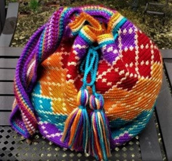 Cherry/Orange Slush Tapestry Crochet Wayuu Bag with Drawstring