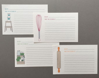 4 x 6 / Recipe Cards / Assortment / Kitchen / Home / Home Gift / Hostess Gift / Kitchen Illustration