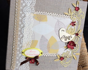 Scrapbooking book album linen nature multipochettes gold personalized name