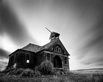Abandoned School House, Eastern Washington - Photograph Black and White Print Matted in a Wood Frame