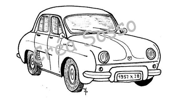 Porte cl s dessin voiture ancienne renault dauphine - Modele dessin voiture ...