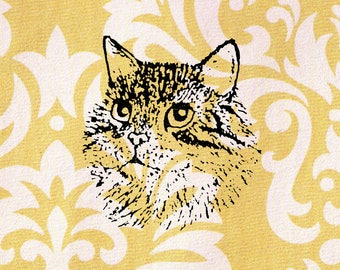 Cat Head Stamp: Wood Mounted Rubber Stamp