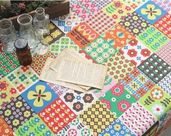 Scandinavian Style Vivid sqaure Patch Pattern Fabric
