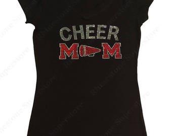 "Women's Rhinestone T-Shirt "" Red Cheer Mom with Megaphone "" in S, M, L, 1X, 2X, 3X"