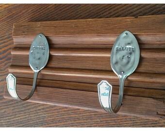 Repurposed Silverplate Spoon Hooks- Cheers & Salute
