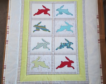 Patchwork Lap/Baby Quilt: Coloured Hares