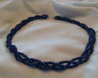 Braided Pearl Necklace:  blue, smoke, white