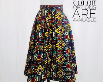 African Print Wrap Circle Skirt with Pockets