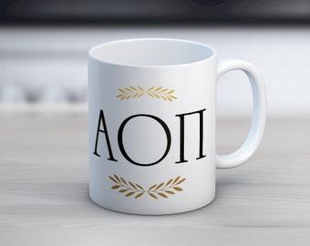 AOII Alpha Omicron Pi Letters Mug Sorority Coffee Mug