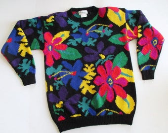 Pullover Sweater 1980's Floral Botanical Wool Blend Purple Yellow Red Magenta Royal Blue Green on Black