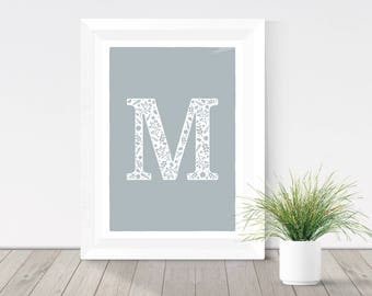 Grey initial print, floral letter typography print, floral monogram, grey letter wall art, rustic home decor, silhouette print,