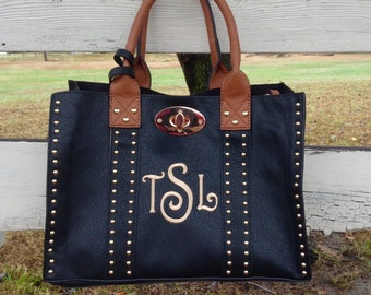Beautiful studded purse ~ Monogram Purse ~  preppy monogram purse ~ medium size