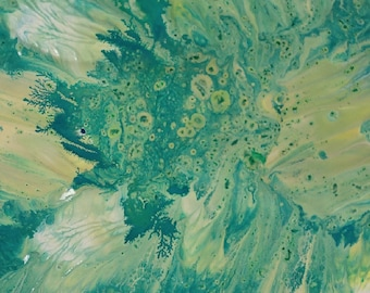 Green abstract canvas Painting print fluid acrylic fluid painting  giclee print Fluid Acrylic Painting Print fine Wall Art on canvas acrylic