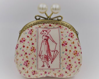 wallet / / purse / / vintage / / Edwardian / / embroidery / / hand embroidery / / ivoite / / wedding