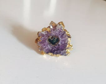 Purple Amethyst Slice Ring, Natural Jewelry, Adjustable Handmade Ring, size 5 to 7.5