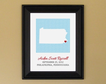 New Mother Baby Art - Personalized Baby Name Sign - Nursery Print - Custom Pennsylvania Map - 11 x 14