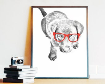 Printable Dog Art, Animal Wearing Glasses, Dog Art Print, Dog with Glasses, Dog Wall Art, Printable Wall Art, 8x10 Digital Download