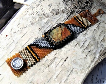 Jewelry - Free Form Peyote Stitch Beaded Bracelet  - Bead Weaving - Red Creek Jasper Cabochon - BOHO