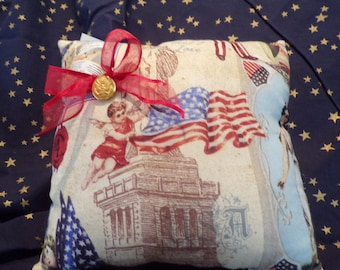Pillow, patriotic, Army, Flag. Button