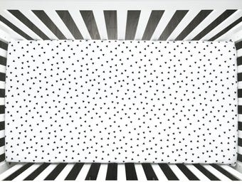 Black triangles white organic minky  fitted crib sheet (#0146)