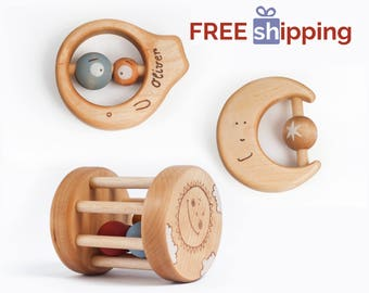 Organic baby toys etsy wooden baby toys personalized baby gifts free shipping wooden teething toys wood baby negle Image collections